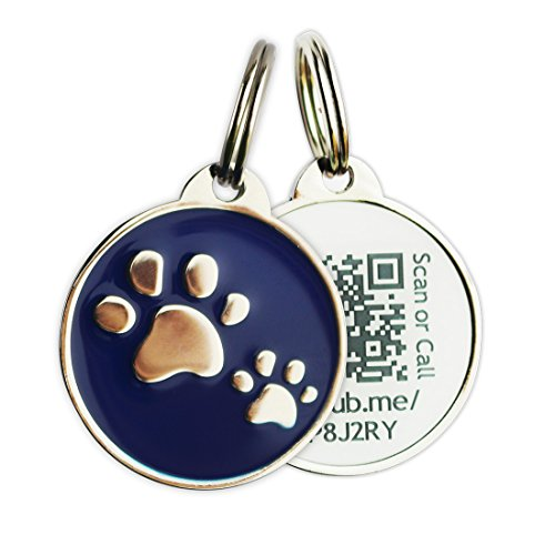 PINMEI Zine Alloy Scannable QR Code Pet Dog Cat ID Tag Powered by PetHub