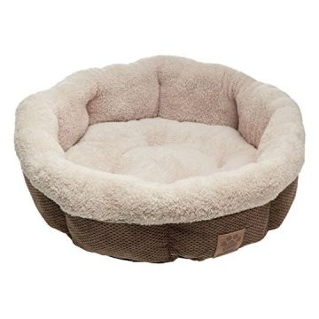 Precision Pet Shearling Round Bed 21Inch Coffee Liqueur Chenille