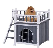 Tangkula Pet House Wooden Outdoor Indoor Dog Cat Puppy House Room with a View
