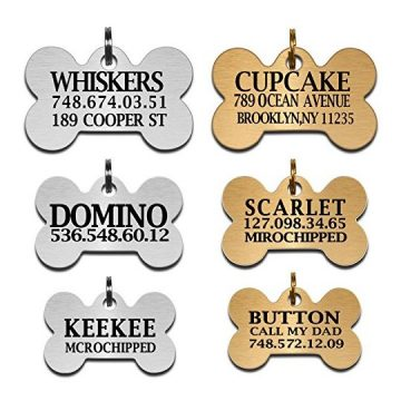 Custom Dog Tags Pet Id Tags for Small   Large Breed Dog Name Engraved Plates Double Sides Engraved Stainless Steel Silver Gold