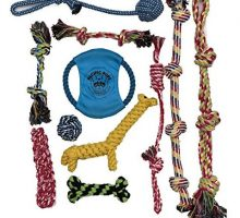 DOG ROPE TOYS FOR AGGRESSIVE CHEWERS – SET OF 11 NEARLY INDESTRUCTIBLE DOG TOYS – BONUS GIRAFFE ROPE TOY  BENEFITS NONPROFIT DOG RESCUE
