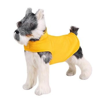 FOREYY Reflective Dog Fleece Coat with Velcro Closure and Leash Attachment Hole  Dogs Pet Autumn Winter Jacket Sweater Vest Apparel Clothes for Small Medium and Large Dogs(OrangeXS)