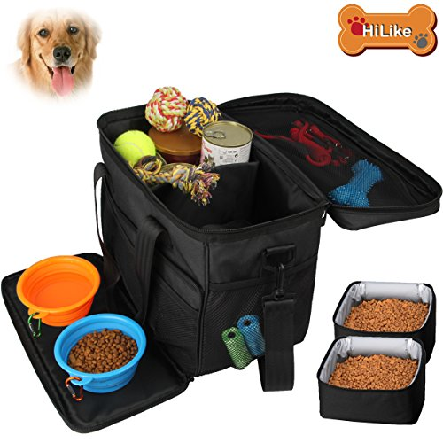 Hilike Pet Travel Bag for Dog&Cat Weekend Tote Organizer Bag for Dogs Travel Incudes1 * Dog Tote Bag2 * Dog Food Carriers Bag2 * Pet Silicone Collapsible Bowls(Black)