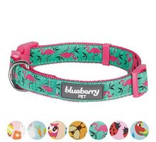 Blueberry Pet 7 Patterns Pink Flamingo on Light Emerald Dog Collar Medium Neck 145″20″ Adjustable Collars for Dogs