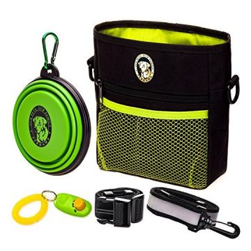 Dog Treat Bag –Training Pouch for Small and Large Dogs with Clicker and Collapsible Food Bowl BPA Free – Pet Treats Tote Bag with Waist and Shoulder Reflective Straps and Belt Clip