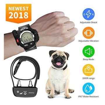 KKUP2U Dog Training Collar Rechargeable and Waterproof Beep Vibration Shock Electric Collar for All Size Dogs 1000 Foot Range
