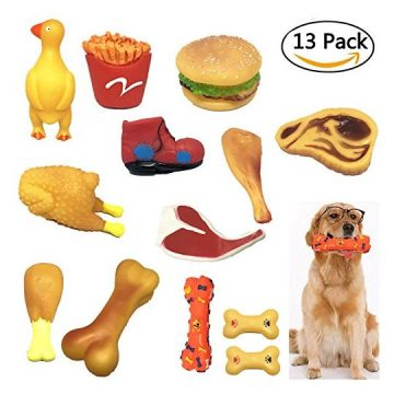 Pack of 13 Squeaky Pet Dog Cat Toys Brand New Made by NonToxic Odorless Environmental Material NoStuffing Toy Bite Resistant For Small Medium Dog