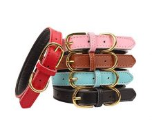 AOLOVE Basic Classic Padded Genuine Leather Pet Collars for Cats Puppy Dogs Medium Pink