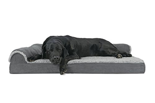 FurHaven Deluxe Orthopedic Chaise Couch Pet Bed for Cats and Dogs Jumbo TwoSided Stone Gray