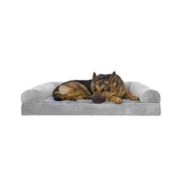 FurHaven Orthopedic Faux Fur & Velvet SofaStyle Couch Pet Bed for Dogs and Cats Smoke Gray Jumbo