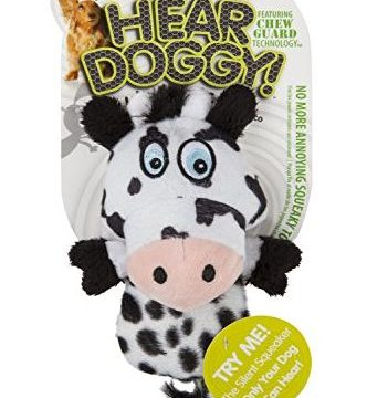 Hear Doggy!  Mini Flattie Cow with Chew Guard Technology Plush Silent Squeak Dog Toy