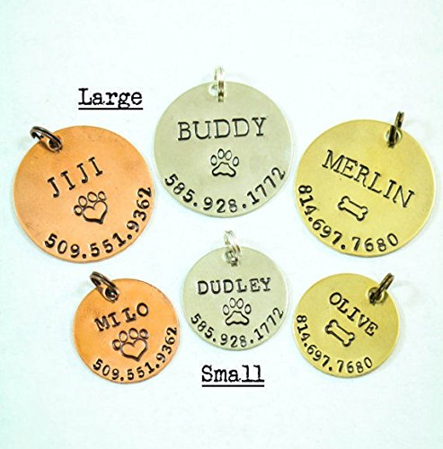 Personalized Pet Tag  DII ABC  Dog Cat ID  Handstamped Handmade  1 1 8 7 8 Inch Discs – New Puppy Kitten Identification Lost  Change Name Number  Fast 1 Day Shipping