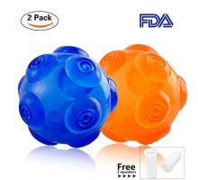 PerSuper 36Inch Durable Rubber Dog Toy Chew toys Ball Interactive Squeak Training Playing Pet Toy Balls  Blue and Orange for SmallMedium and Large Dogs