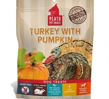 PLATO Treats EOS Grain Free Turkey and Pumpkin Dog Snack 12Ounce Bag