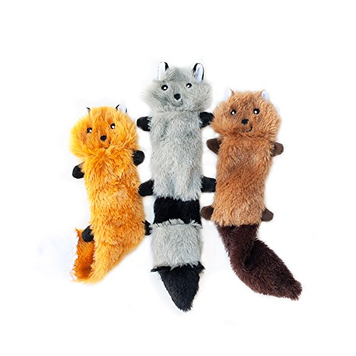 ZippyPaws  Skinny Peltz No Stuffing Squeaky Plush Dog Toy Fox Raccoon and Squirrel  Small