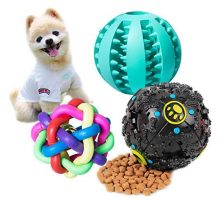 3 Packs Interactive Dog Treat Dispensing Toy  IQ Treat Ball with Squeaker and Rubbe Dog Puzzle Toys for Puppy and Small Medium Dogs Tooth Cleaning Chewing
