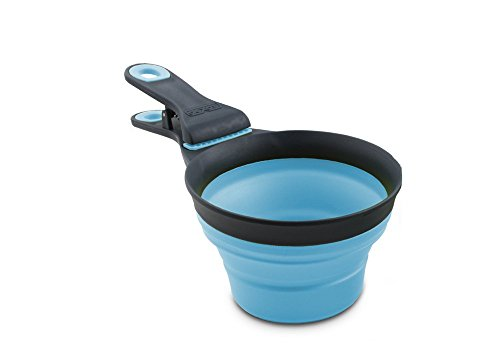 Dexas Popware for Pets Collapsible KlipScoop 1 Cup Capacity Gray Blue
