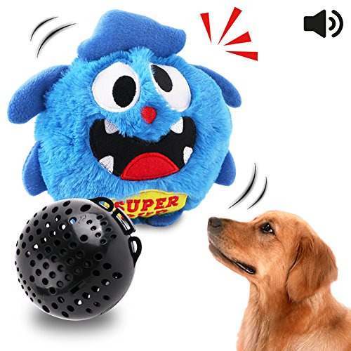 OAKZIP Automatic Dog Toys Interactive Plush Giggle Ball Shake Squeak Crazy Bouncer Toys Exercise Electronic Toy for Puppy Motorized Entertainment for Pets Blue