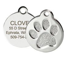 Paw Print Round Stainless Steel Pet ID Tag  Dog and Cat ID Tag