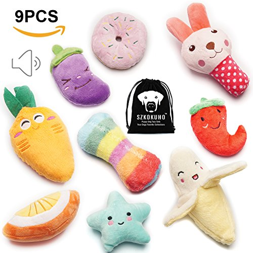 SZKOKUHO 9 Pack Puppy Squeaky Plush Dog Toys Set For Small Dogs to Bite AnytimeVariety Colors & Categories