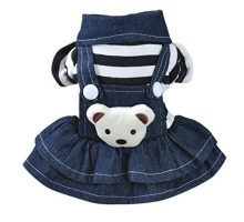 vmree Dog Apparel Small Pet Dog Cat Puppy Dress Strap Denim Skirt Clothes Apparels