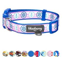 Blueberry Pet 9 Patterns Versatile Bon Voyage Nautical Navy Sailor Designer Dog Collar Medium Neck 145″20″ Adjustable Collars for Dogs
