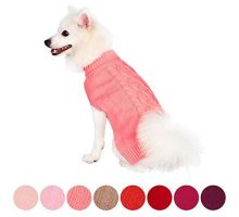 Blueberry Pet Classic Cable Knit Rosy Pink Dog Sweater Back Length 14″ Pack of 1 Clothes for Dogs
