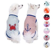 Blueberry Pet Pack of 2 Soft & Comfy Summer Sunshine Sea Lover Cotton Blend Striped Dog T Shirts Tank Top Back Length 10″ Clothes for Dogs