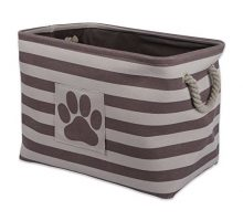 Bone Dry DII Large Rectangle Pet Toy and Accessory Storage Bin 18x12x15 Collapsible Organizer Storage Basket for Home Décor Pet Toy Blankets Leashes and FoodBrown Stripes