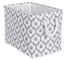 Bone Dry DII Small Rectangle Pet Toy and Accessory Storage Bin 14x8x9 Collapsible Organizer Storage Basket for Home Décor Pet Toy Blankets Leashes and FoodGray Lattice Paw Print