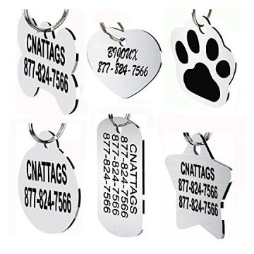 CNATTAGS Stainless Steel Pet ID Tags Dog Tags Personalized Front and Back Engraving