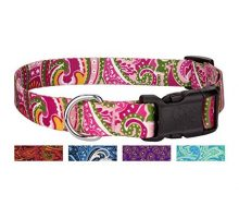 Country Brook Design Pink Paisley Deluxe Dog Collar  Medium