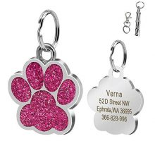 Didog Large Glitter Paw Print Custom Pet ID Tags for Medium Large Dogs and CatsPersonalized EgravingPink