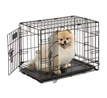 Dog Crate | MidWest iCrate XS Double Door Folding Metal Dog Crate w Divider Panel Floor Protecting Feet & LeakProof Dog Tray | 22L x 13W x 16H inches XS Dog Breed Black