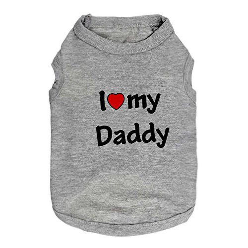 DroolingDog Small Dog Clothes Pet Tshirt I Love My Daddy Puppy Apparel for Small Dogs Large Grey