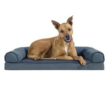 FurHaven Orthopedic Faux Fleece & Chenille SofaStyle Couch Pet Bed for Dogs and Cats Orion Blue Large