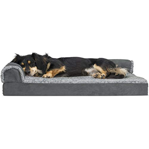Furhaven Pet Deluxe Orthopedic Chaise Couch Pet Bed for Dogs and Cats Stone Gray Medium