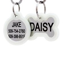 Personalized Dog Tags and Cat Tags in Stainless Steel Includes Glow in the Dark Tag Silencer to Reduce Noise while Protecting Pet Tag and Engraving Engraved on Both Front and Back