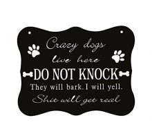 WaaHome Funny Dog SignDo Not Knock SignCrazy Dogs Live Here Signs No Soliciting Sign for House