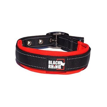 Black Rhino  The Comfort Collar Ultra Soft Neoprene Padded Dog Collar All Breeds  Heavy Duty Adjustable Reflective Weatherproof