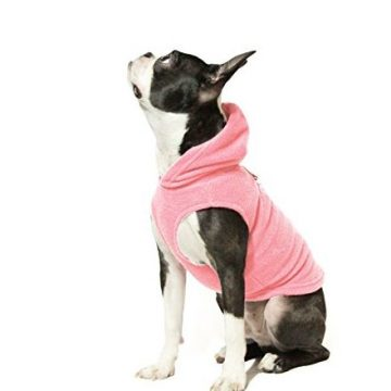 Gooby Every Day Fleece Cold Weather Dog Vest with Hoodie for Small Dogs Pink Medium
