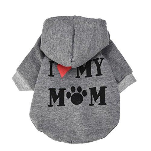 Howstar Pet Clothes Puppy Hoodie Sweater Dog Coat Warm Sweatshirt Love My Mom Printed Shirt