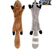 LOVEKONG Stuffingless Dog Toys Stuffing Free Dog Chew Toys Set with Squirrel and Raccoon Squeaky Plush Dog Toy for Medium and Large Dogs 2Pack24Inch