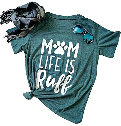 Mom Life is Ruff TShirt Women Funny Dog Paw O Neck Short Sleeve Tops Blouse Size US M Tag L