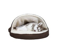 Furhaven Pet Dog Bed | Orthopedic Round Faux Sheepskin Snuggery Burrow Pet Bed for Dogs & Cats Espresso 26Inch