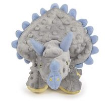 goDog Dinos Triceratops With Chew Guard Technology Tough Plush Dog Toy Grey Large