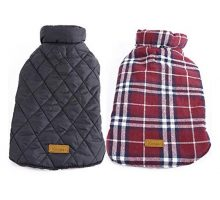 Kuoser Cozy Waterproof Windproof Reversible British Style Plaid Dog Vest Winter Coat Warm Dog Apparel Cold Weather Dog Jacket Small Medium Large Dogs Furry Collar