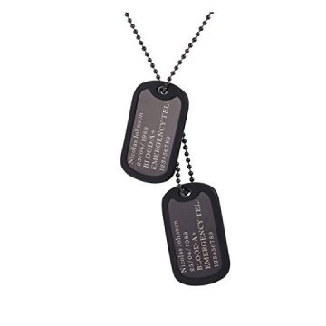 U7 Custom Engraved Dog Tag Pendant with Black Gun Plated Chain 23″ Medical Alert ID Necklace