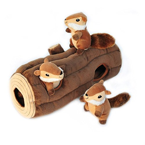 ZippyPaws  Woodland Friends Burrow Interactive Squeaky Hide and Seek Plush Dog Toy  Chipmunks 'n Log
