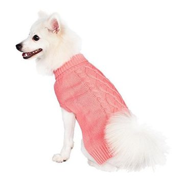 Blueberry Pet Classic Cable Knit Rosy Pink Dog Sweater Back Length 12″ Pack of 1 Clothes for Dogs